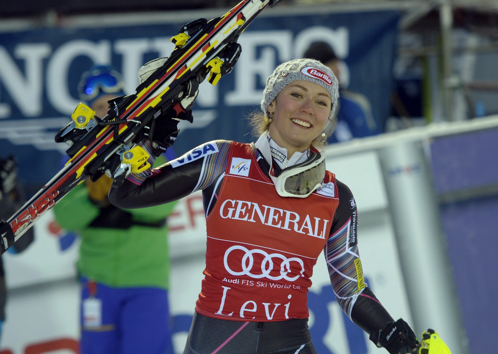 Description of . US Mikaela Shiffrin celebrates after the slalom women's FIS Alpine Ski World Cup in Levi, Finland, on November 16, 2013. Shiffrin won ahead of Germany's Maria Hoefl-Riesch and Slovenia's Tina Maze. AFP PHOTO /Lehtikuva/ MARKKU ULANDER/AFP/Getty Images