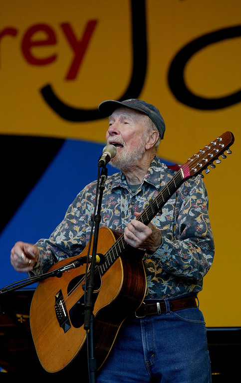 Description of . Pete Seeger plays on main stage at Monterey Jazz Festival (Saturday) in Monterey, Calif. on Saturday September 19, 2009. (Orville Myers/ Monterey County Herald)