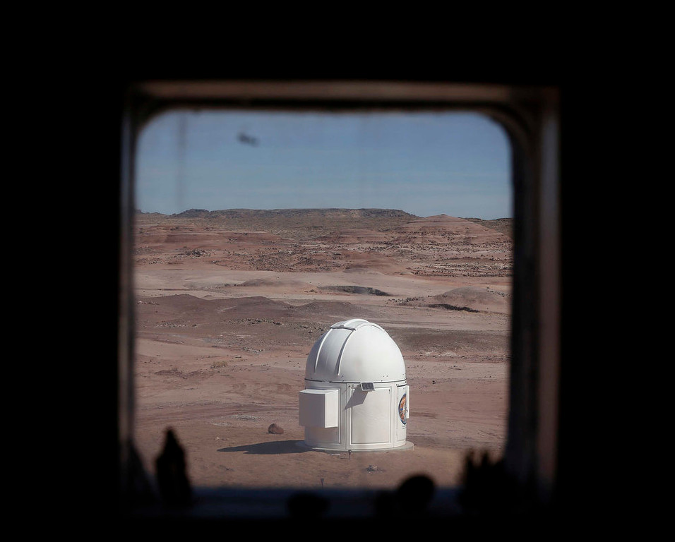 Description of . The Musk Observatory is seen from the working and living quarters at the Mars Desert Research Station (MDRS) outside Hanksville in the Utah desert March 2, 2013.  REUTERS/Jim Urquhart