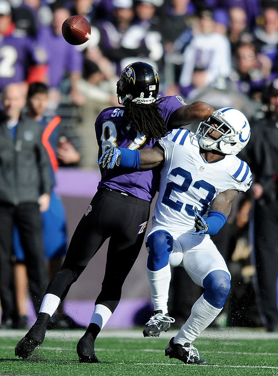 Description of . Baltimore Ravens wide receiver Torrey Smith (82) can't make the catch as he is defended by Indianapolis Colts cornerback Vontae Davis (23) during the first half of an NFL wild card playoff football game Sunday, Jan. 6, 2013, in Baltimore. (AP Photo/Nick Wass)