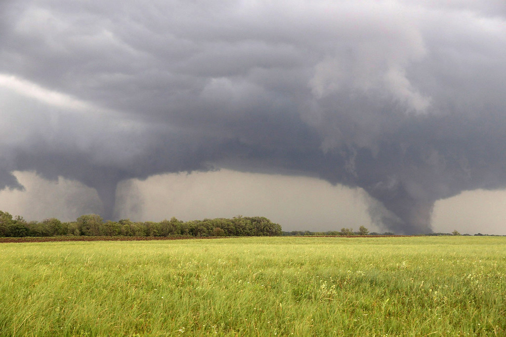 Description of . Two tornados approach  Pilger, Neb., Monday June 16, 2014.  The National Weather Service said at least two twisters touched down within roughly a mile of each other Monday in northeast Nebraska. (AP Photo/Eric Anderson)