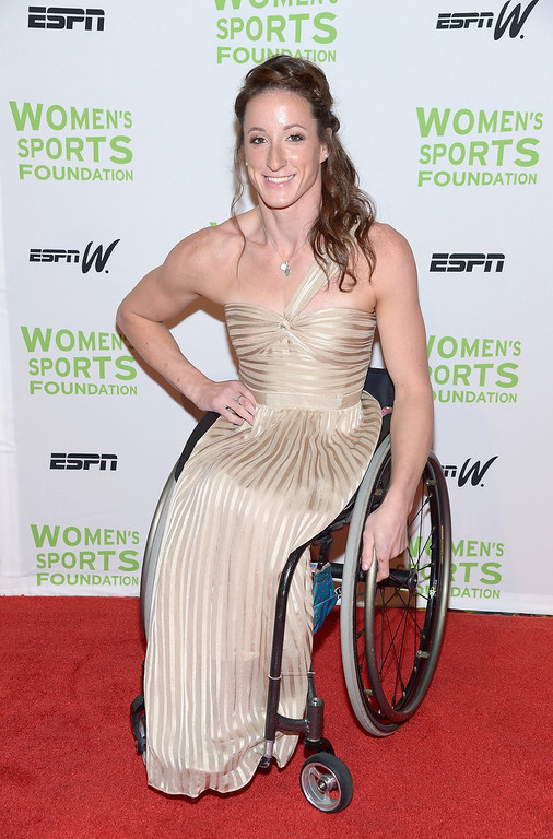 Description of . NEW YORK, NY - OCTOBER 16:  Wheelchair Racer Tatyana McFadden attends the 34th annual Salute to Women In Sports Awards at Cipriani, Wall Street on October 16, 2013 in New York City.  (Photo by Michael Loccisano/Getty Images for the Women's Sports Foundation)