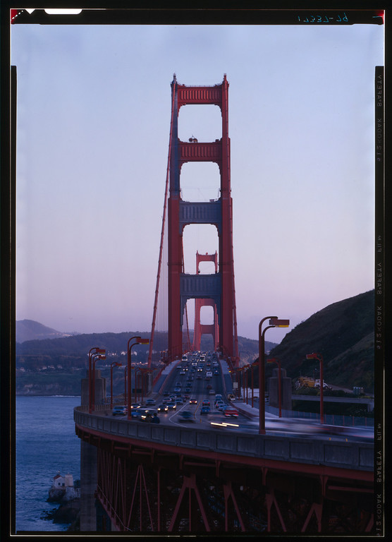 Description of . Looking south at the Golden Gate Bridge, spanning the mouth of San Francisco Bay, 1984. (Photo by Jet Lowe, Library of Congress)