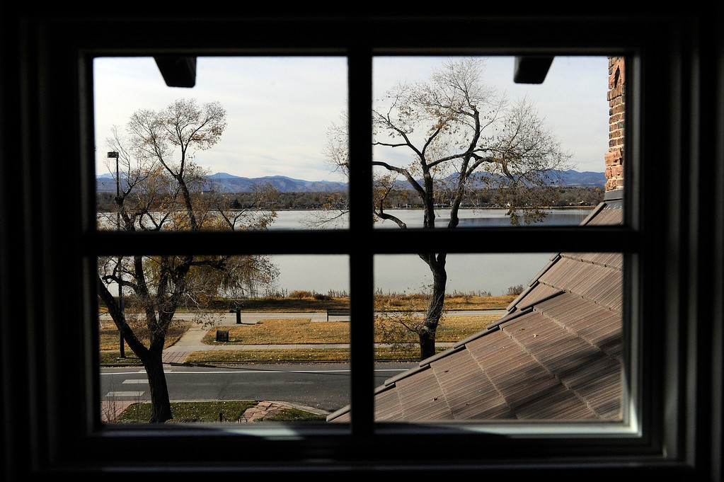 Description of . DENVER, CO - NOVEMBER 13: The view of Sloan's Lake from an upstairs window of the Spicer residence on November 13, 2013, in Denver, Colorado. Jeannine Spicer wanted to open up the previously dark interior of her childhood home by installing more windows and providing many views of the lake and the mountain range. (Photo by Anya Semenoff/YourHub)