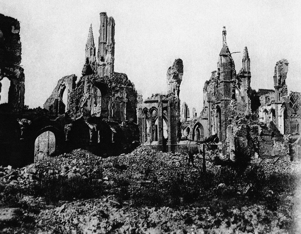 Description of . Ypres Cathedral in Ypres, Belgium, seen from the market square during World War I in an undated photo. (AP Photo)