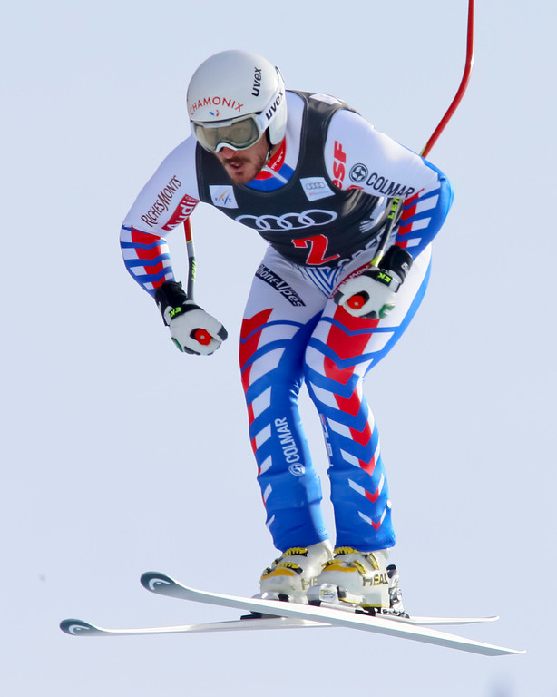 Description of . Guiliermo Fayed from France, speeds down the course during the men's World Cup downhill ski race in Beaver Creek, Colo., on Friday, Nov. 30, 2012. (AP Photo/Nathan Bilow)