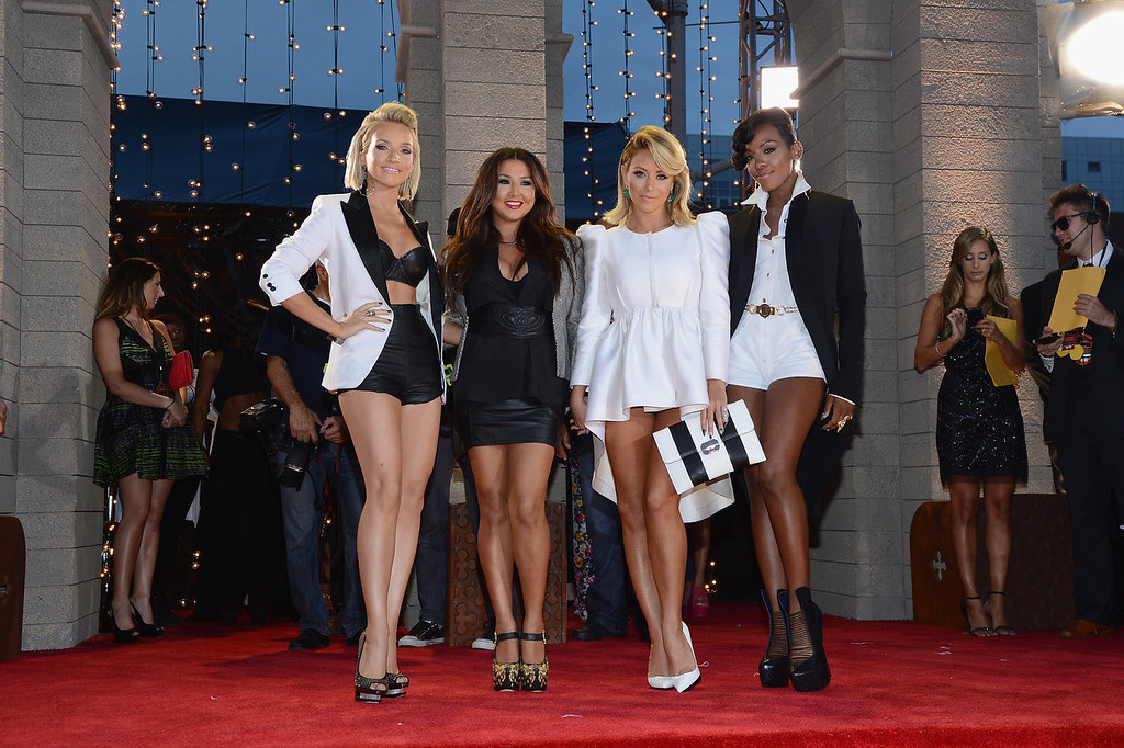 Description of . Shannon Bex, Andrea Fimbres, Aubrey O'Day and Dawn Richards of Danity Kane attend the 2013 MTV Video Music Awards at the Barclays Center on August 25, 2013 in the Brooklyn borough of New York City.  (Photo by Larry Busacca/Getty Images for MTV)