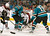 SAN JOSE, CA - JANUARY 26: Joe Thornton #19 and Logan Couture #39 of the San Jose Sharks try to score against Semyon Varlamov #1 of the Colorado Avalanche during an NHL game on January 26, 2013 at HP Pavilion in San Jose, California. (Photo by Don Smith/NHLI via Getty Images)