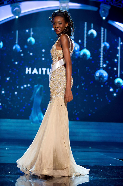 Description of . Miss Haiti 2012 Christela Jacques competes in an evening gown of her choice during the Evening Gown Competition of the 2012 Miss Universe Presentation Show in Las Vegas, Nevada, December 13, 2012. The Miss Universe 2012 pageant will be held on December 19 at the Planet Hollywood Resort and Casino in Las Vegas. REUTERS/Darren Decker/Miss Universe Organization L.P/Handout