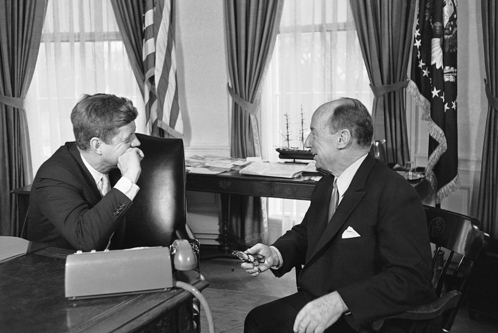 Description of . Kennedy talks with U.N. Ambassador Adlai Stevenson at the White House on March 18, 1961. The two were discussing  possible resumption of disarmament talks with the Soviet Union. Byron Rollins, Associated Press file