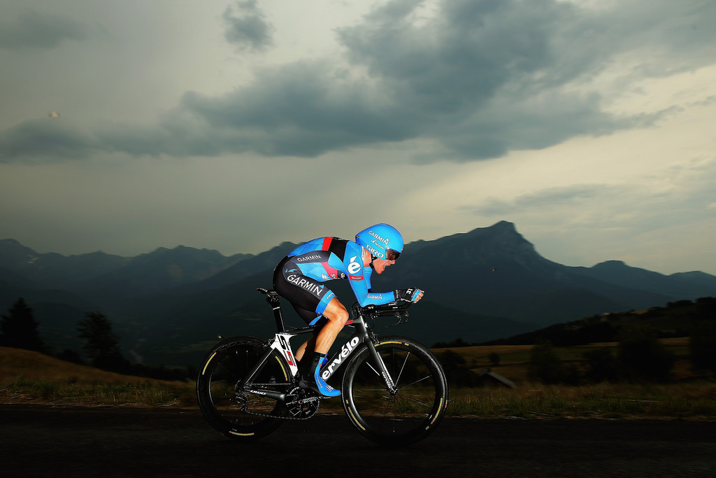 Description of . CHORGES, FRANCE - JULY 17:  Andrew Talansky of the USA and Team Garmin- Sharp in action during stage seventeen of the 2013 Tour de France, a 32KM Individual Time Trial from Embrun to Chorges, on July 17, 2013 in Chorges, France.  (Photo by Bryn Lennon/Getty Images)