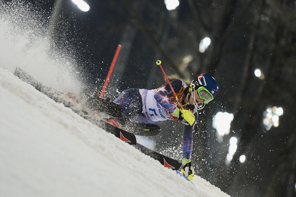 Description of . Mikaela Shiffrin of the USA wins the gold medal during the Alpine Skiing Women's Slalom at the Sochi 2014 Winter Olympic Games at Rosa Khutor Alpine Centre on February 21, 2014 in Sochi, Russia. (Photo by Alain Grosclaude/Agence Zoom/Getty Images)
