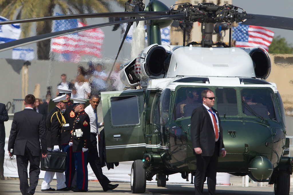 Description of . US President Barack Obama boards Marine One at the Ben Gurion Airport on March, 20, 2013 near Tel Aviv, Israel. (Photo by Uriel Sinai/Getty Images)