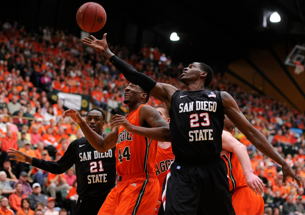 Description of . FT. COLLINS, CO. - FEBRUARY 13: Deshawn Stephens (23) of the San Diego State Aztecs reached for a rebound in the first half. Colorado State hosted San Diego State February 13, 2013 at Moby Arena in Fort Collins. (Photo By Karl Gehring/The Denver Post)