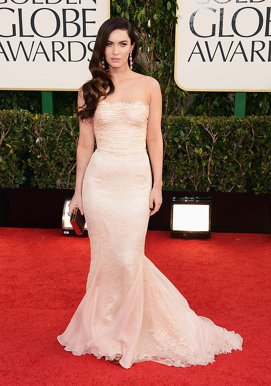 Description of . Actress Megan Fox arrives at the 70th Annual Golden Globe Awards held at The Beverly Hilton Hotel on January 13, 2013 in Beverly Hills, California.  (Photo by Jason Merritt/Getty Images)