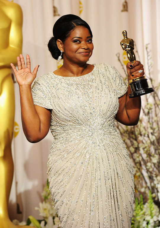 Description of . Actress Octavia Spencer, winner of the Best Supporting Actress Award for 'The Help,' poses in the press room at the 84th Annual Academy Awards held at the Hollywood & Highland Center on February 26, 2012 in Hollywood, California.  (Photo by Jason Merritt/Getty Images)