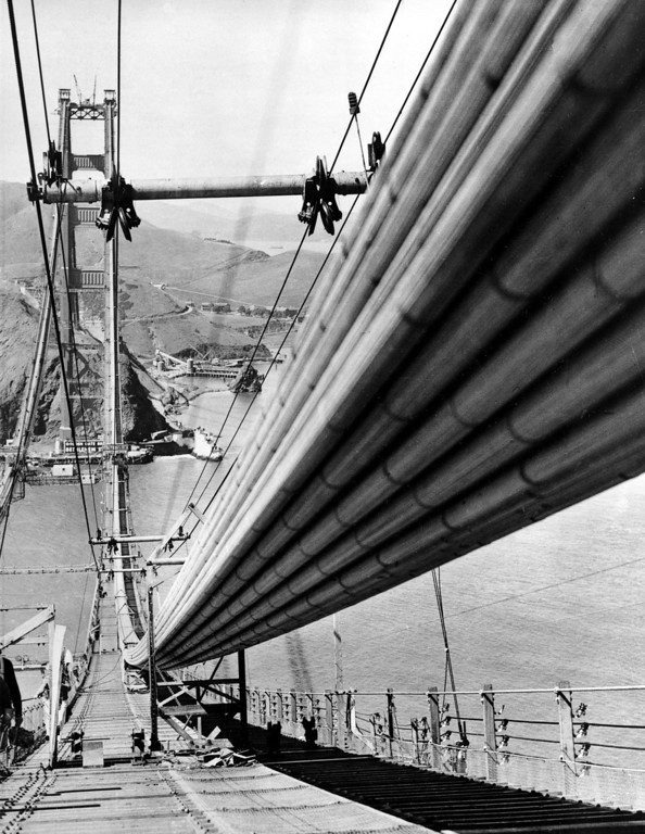 Description of . This is a close up of one of the nearly completed cables which will hold up the floor of the $32,500,000 Golden Gate Bridge in San Francisco, Ca., May 4, 1936.  Approximately 27,500 steel wires are in each cable, which are 36 1/2 inches in diameter and 7,700 feet long.  The bridge spans the entrance to San Francisco harbor and joins the city with Marin County.  (AP Photo)