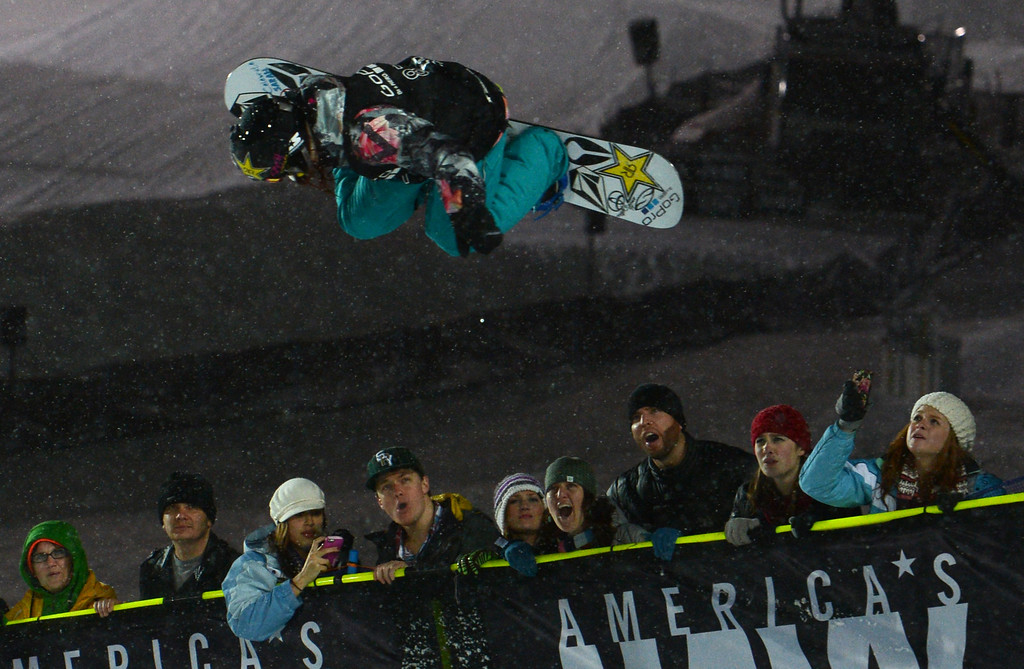 Description of . ASEN, CO. - JANUARY 26:  Elena Hight goes big during the Women's Snowboard SuperPipe Final, January 26, 2013, at the 2013 Winter X Games at Buttermilk Mountain in Aspen. Hight got second place in the event. (Photo By RJ Sangosti / The Denver Post)