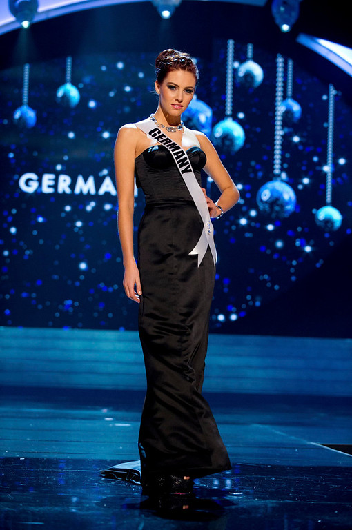 Description of . Miss Germany 2012 Alicia Endemann competes in an evening gown of her choice during the Evening Gown Competition of the 2012 Miss Universe Presentation Show in Las Vegas, Nevada, December 13, 2012. The Miss Universe 2012 pageant will be held on December 19 at the Planet Hollywood Resort and Casino in Las Vegas. REUTERS/Darren Decker/Miss Universe Organization L.P/Handout