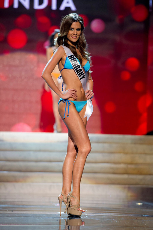 Description of . Miss Hungary 2012 Agnes Konkoly competes during the Swimsuit Competition of the 2012 Miss Universe Presentation Show at PH Live in Las Vegas, Nevada December 13, 2012. The Miss Universe 2012 pageant will be held on December 19 at the Planet Hollywood Resort and Casino in Las Vegas. REUTERS/Darren Decker/Miss Universe Organization L.P/Handout