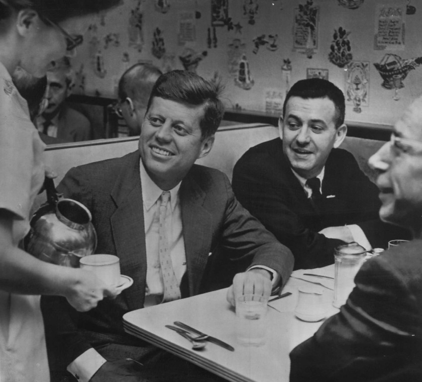 Description of . Sen. Kennedy has breakfast in Huntington restaurant as he prepares for a final day of campaigning in West Virginia during the primary race. Associated Press file