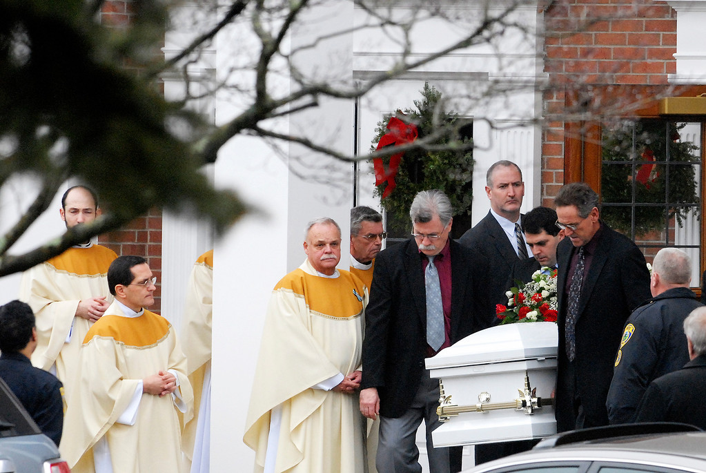 Description of . Funeral service at St. Rose of Lima Roman Catholic Church for James Mattioli on Tuesday in Newtown, Conn., six year old killed when Adam Lanza walked into Sandy Hook Elementary killing 26 people.Photo Erica Miller 12/18/12 JamesMattioli5