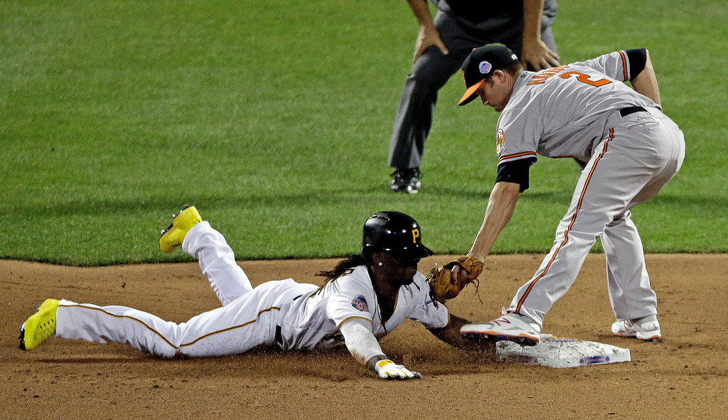 Description of . National League\'s Andrew McCutchen, of the Pittsburgh Pirates, safely steals second under the tag of American Leagueís J.J. Hardy, of the Baltimore Orioles, during the MLB All-Star baseball game, on Tuesday, July 16, 2013, in New York. (AP Photo/Frank Franklin II)