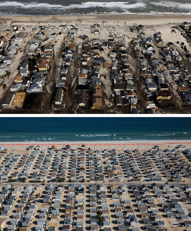 Description of . SEASIDE HEIGHTS, NJ - OCTOBER 31:  (top)  Homes are shown surrounded by sand and debris in Seaside Heights, New Jersey October 31, 2012. (Photo by  Mario Tama/Getty Images)     SEASIDE HEIGHTS, NJ - OCTOBER 21: (bottom)   Homes are shown in Seaside Heights, New Jersey are shown October 21, 2013.  Hurricane Sandy made landfall on October 29, 2012 near Brigantine, New Jersey and affected 24 states from Florida to Maine and cost the country an estimated $65 billion.  (Photo by Andrew Burton/Getty Images)