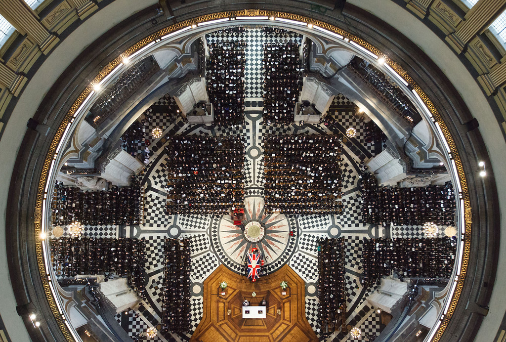 Description of . An overhead view of guests attending the ceremonial funeral of former British Prime Minister Margaret Thatcher at St Paul's Cathedral in London, Wednesday April 17, 2013.  (AP Photo/Dominic Lipinski, Pool)