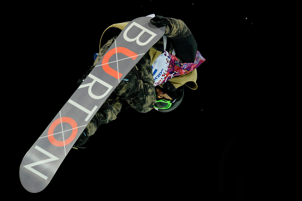 Description of . Bronze medalist Taku Hiraoka rides during the men\'s snowboard halfpipe final. Sochi 2014 Winter Olympics on Tuesday, February 11, 2014. (Photo by AAron Ontiveroz/The Denver Post)