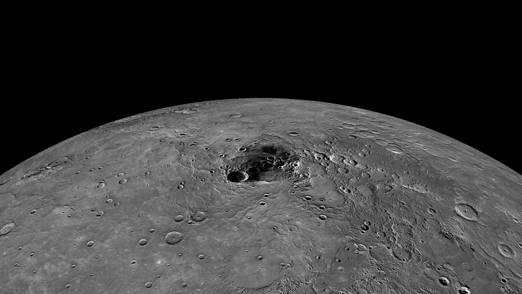 Description of . In an undated handout image, a composite image of Mercury\'s north pole. New findings from the Messenger spacecraft indicate that the Mercury\'s poles are home to large swaths of frozen water. (NASA/Johns Hopkins University Applied Physics Laboratory/Carnegie Institution of Washington via The New York Times)