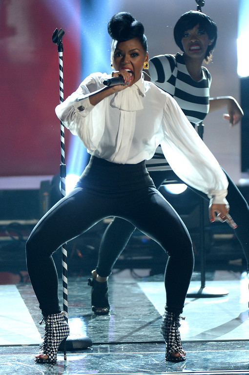 Description of . Recording artist Janelle Monae performs onstage during the 2013 BET Awards at Nokia Theatre L.A. Live on June 30, 2013 in Los Angeles, California.  (Photo by Mark Davis/Getty Images for BET)