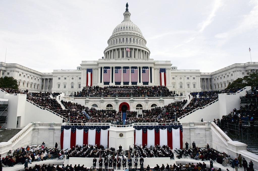Description of . The west side of the US Capitol is filled during the swearing-in ceremony for President Bush at the US Capitol in Washington, Thursday, Jan. 20, 2005. (AP Photo/Ron Edmonds)