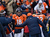 Denver Broncos quarterback Peyton Manning (18) returns to the sidelines after passing to Stokley for a touchdown in the first quarter. The Denver Broncos vs Baltimore Ravens AFC Divisional playoff game at Sports Authority Field Saturday January 12, 2013. (Photo by Joe Amon,/The Denver Post)