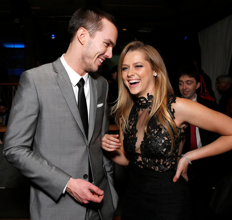 "Description of . Nicholas Hoult and Teresa Palmer attend the after party for the LA Premiere of ""Warm Bodies\"" at the ArcLight Cinerama Dome on Tuesday, Jan. 29, 2013 in Los Angeles, California. (Photo by Todd Williamson/Invision for The Hollywood Reporter/AP Images)"