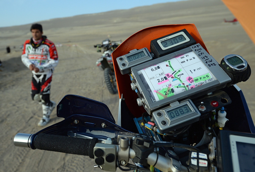 Description of . View of a road book before the Stage 2 of the Dakar 2013 in Pisco, Peru, on January 6, 2013. The rally will take place in Peru, Argentina and Chile from January 5 to 20.  FRANCK FIFE/AFP/Getty Images