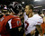 San Francisco 49ers' Colin Kaepernick, right, talks to Atlanta Falcons' Matt Ryan after the NFL football NFC Championship game Sunday, Jan. 20, 2013, in Atlanta. The 49ers won 28-24 to advance to Super Bowl XLVII. (AP Photo/David Goldman)