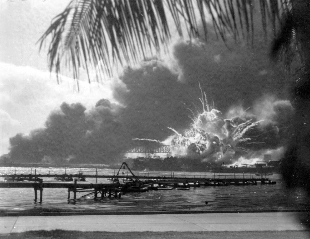 Description of . The destroyer USS Shaw explodes after being hit by bombs during the Japanese surprise attack on Pearl Harbor, Hawaii, on December 7, 1941. (AP Photo)