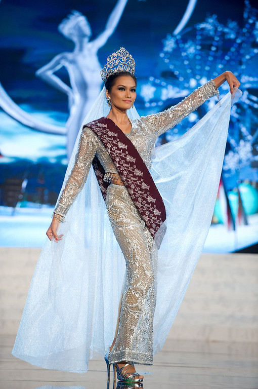 Description of . Miss Philippines 2012, Janine Tugonon, performs onstage at the 2012 Miss Universe National Costume Show on Friday, Dec. 14, 2012 at PH Live in Las Vegas, Nevada. The 89 Miss Universe Contestants will compete for the Diamond Nexus Crown on Dec. 19, 2012. (AP Photo/Miss Universe Organization L.P., LLLP)