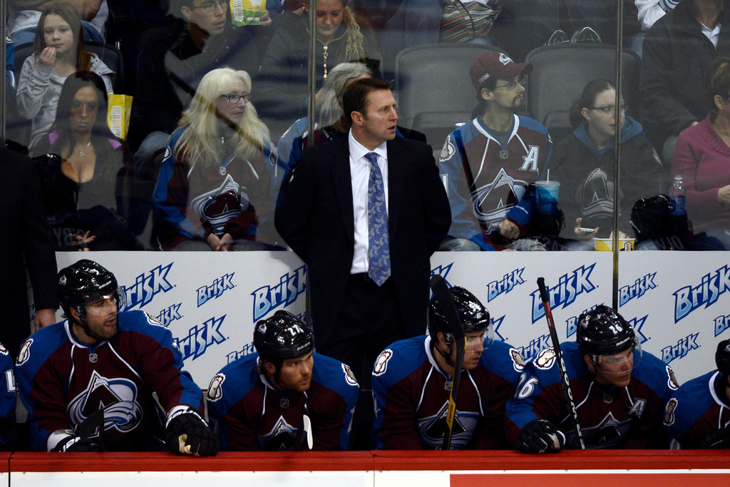 Description of . DENVER, CO. - JANUARY 22: Colorado Avalanche head coach Joe Sacco watches the action against the Los Angeles Kings during the second period. The Colorado Avalanche hosted the Los Angeles Kings at the Pepsi Center on January, 22, 2013.   (Photo By John Leyba / The Denver Post)
