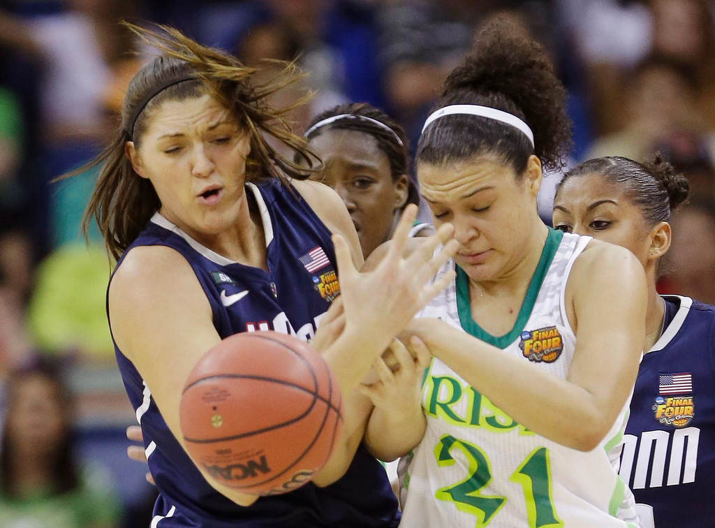 Description of . Connecticut center Stefanie Dolson (31) and Notre Dame guard Kayla McBride (21) battle for a rebound in the first half of the women\'s NCAA Final Four college basketball tournament semifinal, Sunday, April 7, 2013, in New Orleans. (AP Photo/Gerald Herbert)