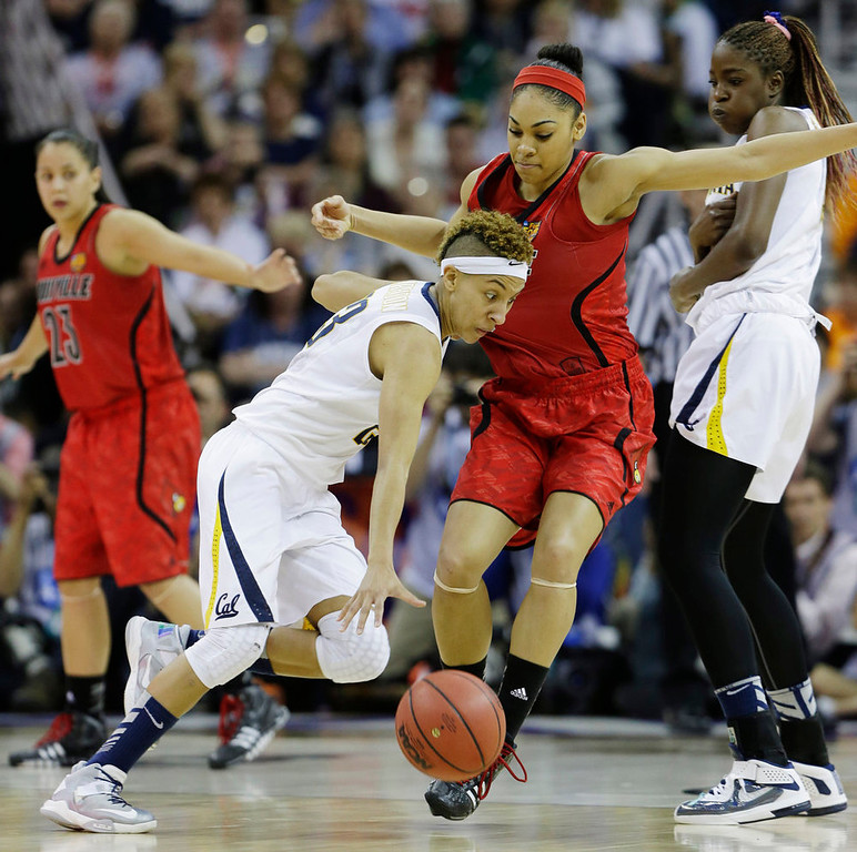 Description of . California guard Layshia Clarendon (23) drives the ball against Louisville guard Bria Smith (21) in the second half of a national semifinal at the Women's Final Four of the NCAA college basketball tournament, Sunday, April 7, 2013, in New Orleans. (AP Photo/Dave Martin)