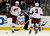 DENVER, CO. - FEBRUARY 11: Shane Doan (19) of the Phoenix Coyotes celebrates with a dance after his game-winning goal with 1:00 left in the overtime to defeat the Colorado Avalanche 3-2 February 11, 2013 at Pepsi Center. Keith Yandle (3) of the Phoenix Coyotes looks on as he celebrates. (Photo By John Leyba/The Denver Post)