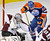 Colorado Avalanche goalie Semyon Varlamov (L) and Edmonton Oilers' Teemu Hartikainen battle for the puck during the first period of their NHL hockey game in Edmonton January 28, 2013.  REUTERS/Dan Riedlhuber