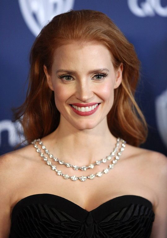 Description of . Jessica Chastain arrives at the 15th annual InStyle and Warner Bros. Golden Globes after party at the Beverly Hilton Hotel on Sunday, Jan. 12, 2014, in Beverly Hills, Calif. (Photo by Matt Sayles/Invision/AP)