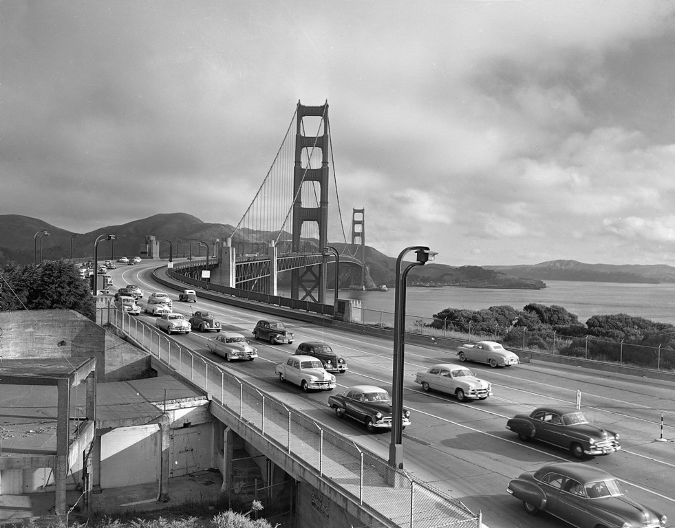 Description of . Motor traffic crosses the Golden Gate Bridge, Nov. 20, 1940, in San Francisco.  (AP Photo)