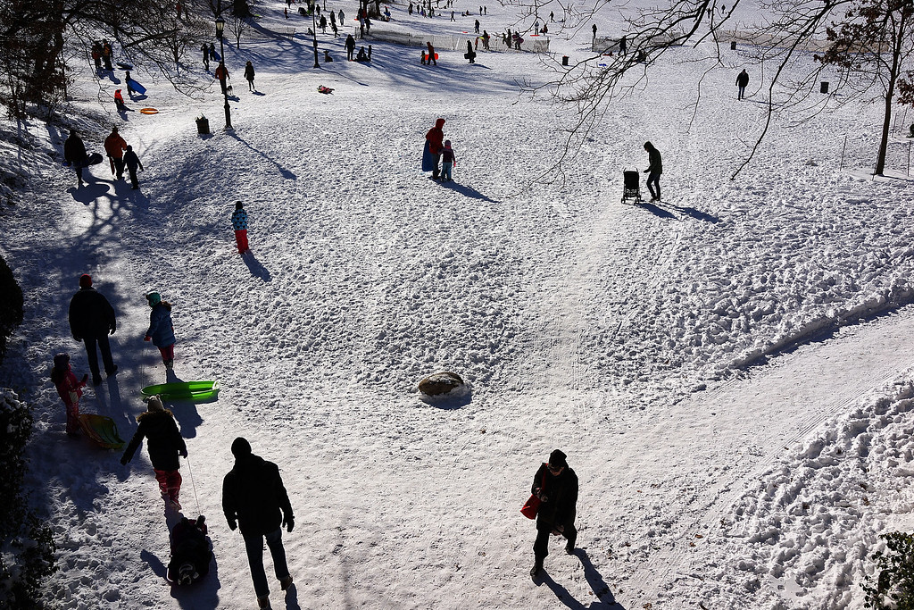 Description of . People go sledding following a snow storm in Prospect Park January 4, 2014 in the Brooklyn borough of New York City. The major winter snowstorm named