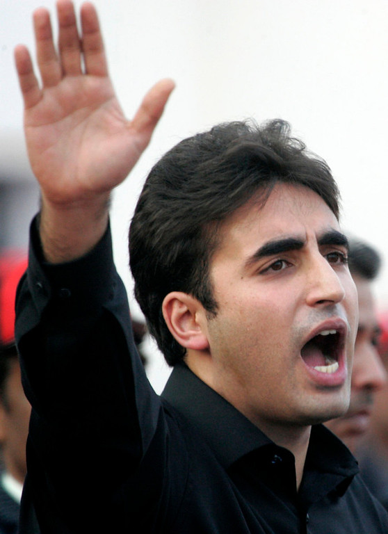 Description of . Bilawal Bhutto Zardari, son of assassinated former Pakistani prime minister Benazir Bhutto, makes a speech to launch his political career during the fifth anniversary of his mother's death, at the Bhutto family mausoleum in Garhi Khuda Bakhsh, near Larkana December 27, 2012. Benazir Bhutto was killed in a gun and suicide bomb attack after an election rally in the city of Rawalpindi on December 27, 2007, weeks after she returned to Pakistan after years in self-imposed exile. REUTERS/Nadeem Soomro