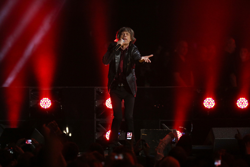 Description of . Mick Jagger of the Rolling Stones performs at the 12-12-12 benefit concert for victims of Hurricane Sandy, at Madison Square Garden in New York, Dec. 12, 2012. The concert features a lineup of artists spanning five decades. (Damon Winter/The New York Times)