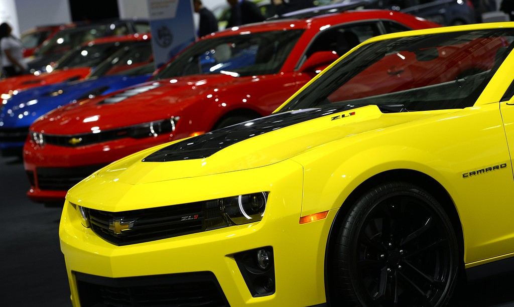 Description of . Chevrolet Camaros are displayed during the second press preview day at the 2014 New York International Auto Show  April 17, 2014 at the Jacob Javits Center in New York. AFP PHOTO / Timothy A. CLARY/AFP/Getty Images